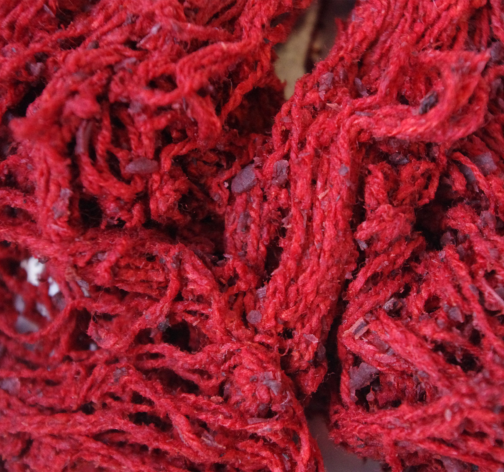 Madder dyed silk wet