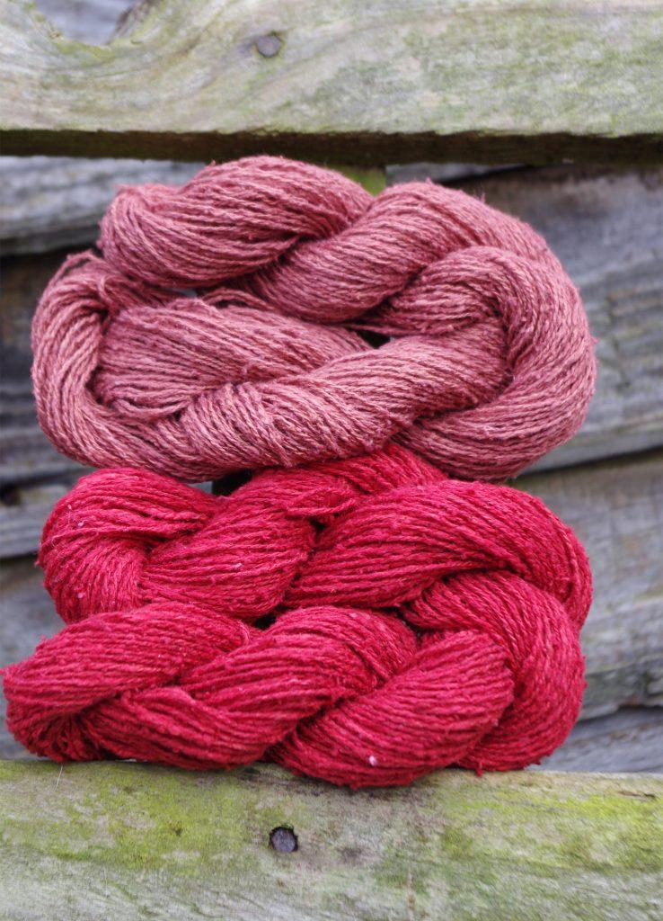 Rubia tinctorum dyed silk