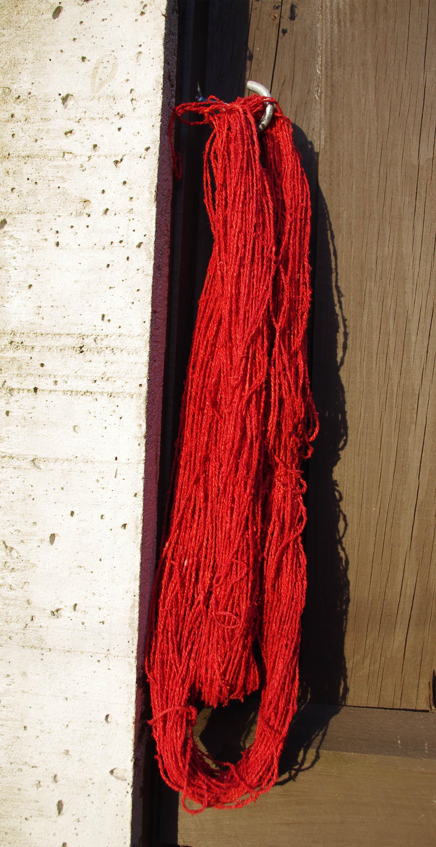 madder dyed silk in eve sun