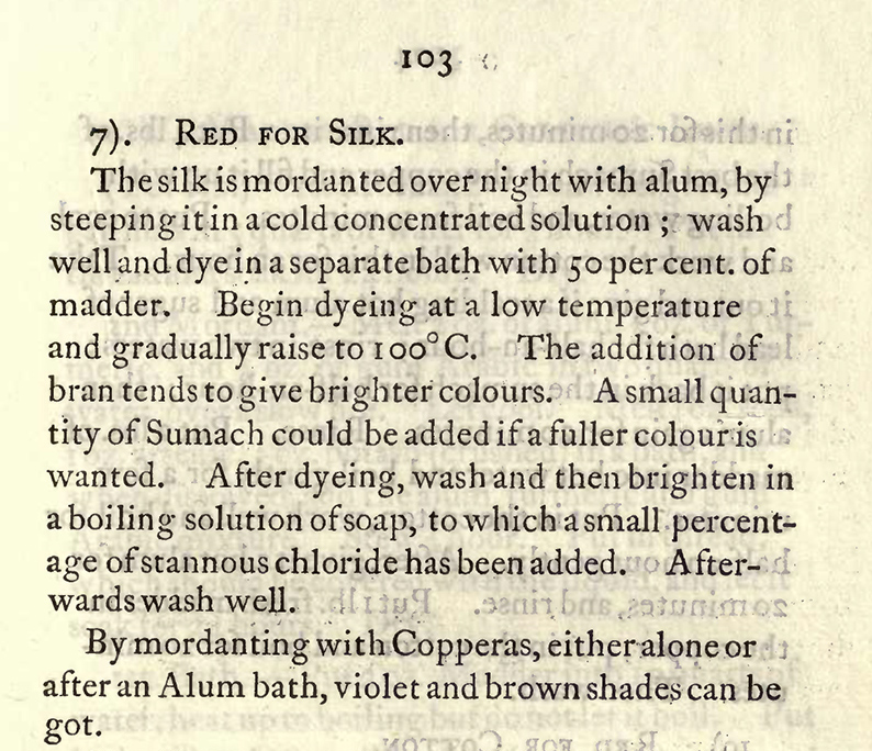 Mairet recipe for madder on silk