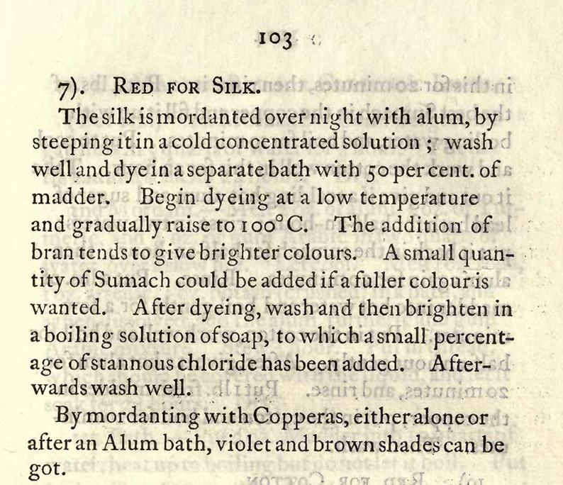 Mairet recipe for madder on silk