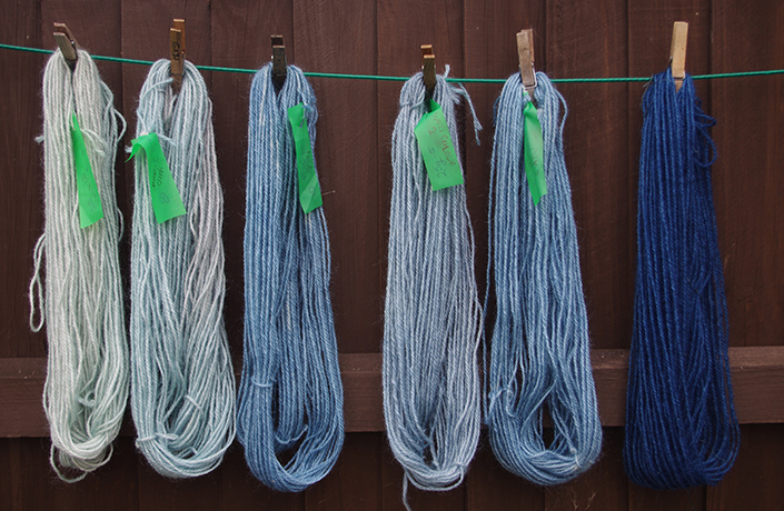Skein on right dyed with a strong indigo dye bath
