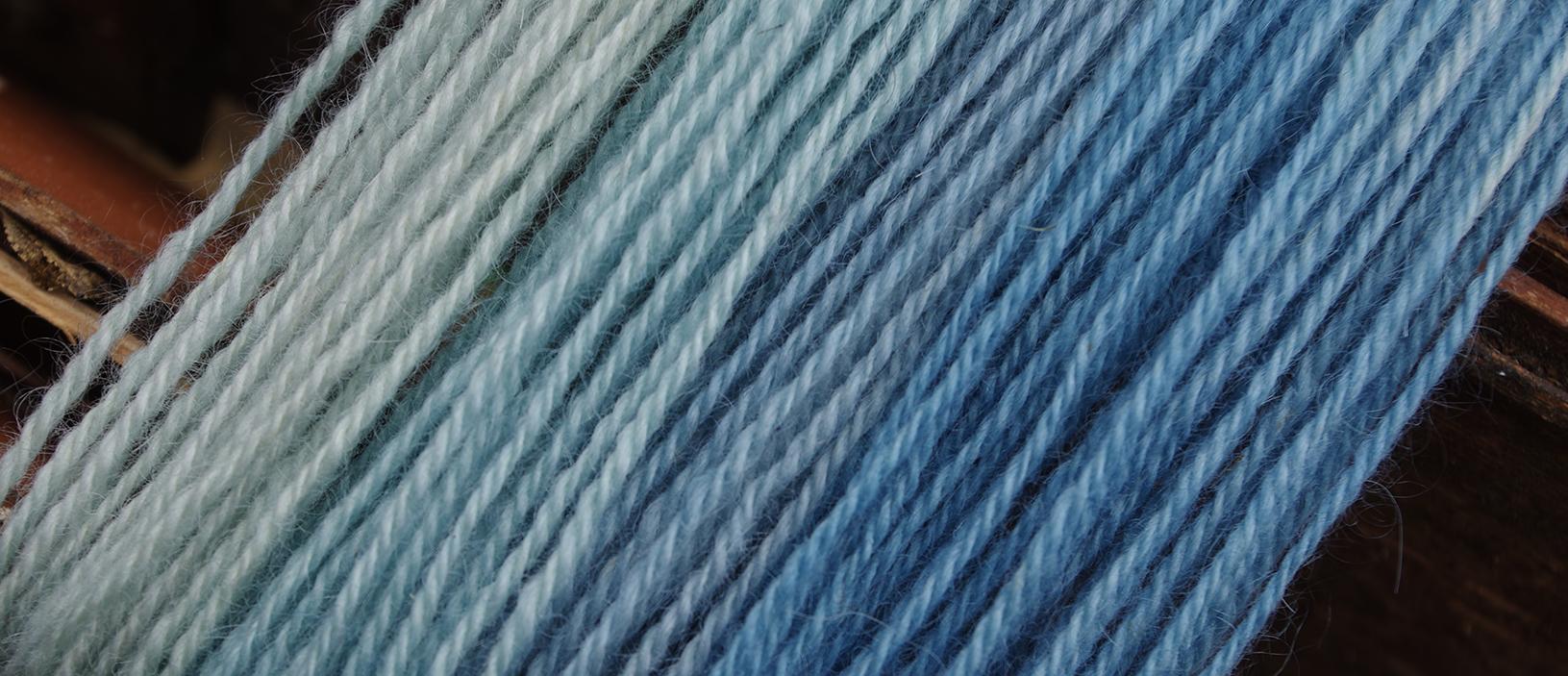 Indigo dyed wool
