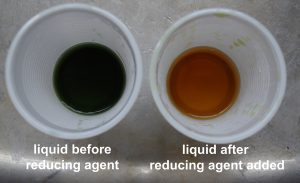 shows colour change from dark green to orangy yellow after reducing agent added