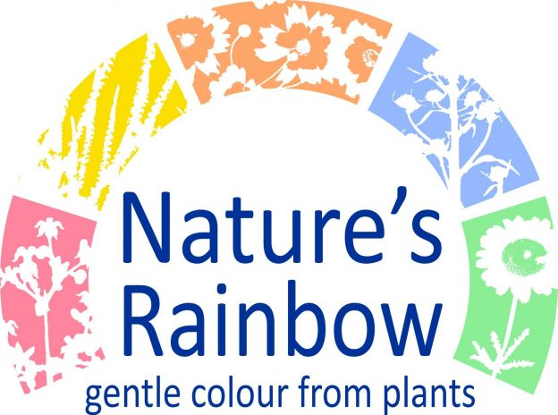 Logo consisting of silhouettes of dyeplants and the words natures rainbow