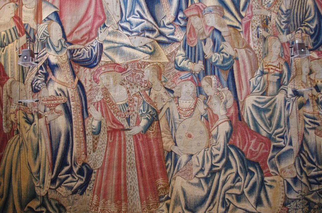 blue and red the only colours to survive on old tapestries