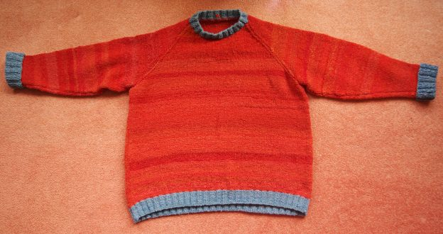 Madder red and indigo bluedyed handspun and knitted jumper