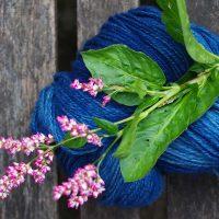 Skein of indigo dyed yarn with flower