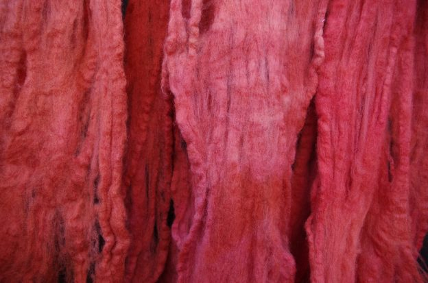Madder dyed wool tops