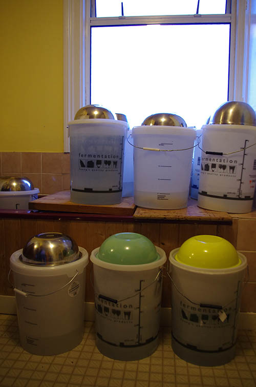 Fermenting bins and steel bowls